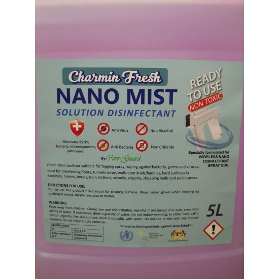 CHARMIN Kills Bacteria Disinfectant Sanitizing Nano Mist 5 Litre (Ready Use)
